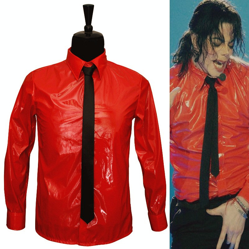 MJ In Memory of Michael Jackson Red Patent Leather Dangerous BAD Jam Shirt For Party Gift Halloween