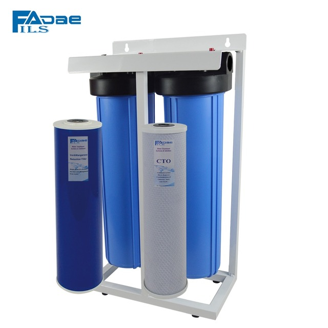 filsadae 2 stage vertical whole house water filtration system with 20 big blue carbon - Whole House Water Filtration