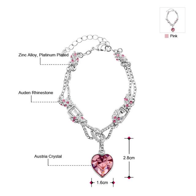 Romantický náramok RUŽOVÉ SRDCE Romantic Rhinestone Bracelet PINK HEART