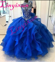 High Neck Crystal Beaded Bodice Corset Organza Layered Quinceanera Dresses Ball Gowns 2018 Princess Prom Dresses
