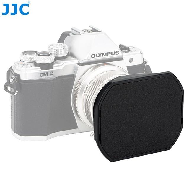 Jjc LH J48II 카메라 올림푸스 m. zuiko 디지털 ed 12mm f/2.0 렌즈 용 후드 캡이있는 블랙 렌즈 후드 olympus LH 48 대체