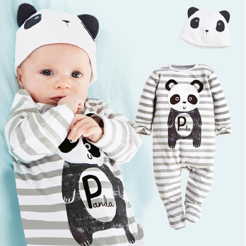Panda Baby Rompers Caps Boys Clothing Set Toddler Hat One-Pieces Suits Overall Grey baby boy clothes bebe jumpsuit baby skullies boys caps headwear chapeau beanies