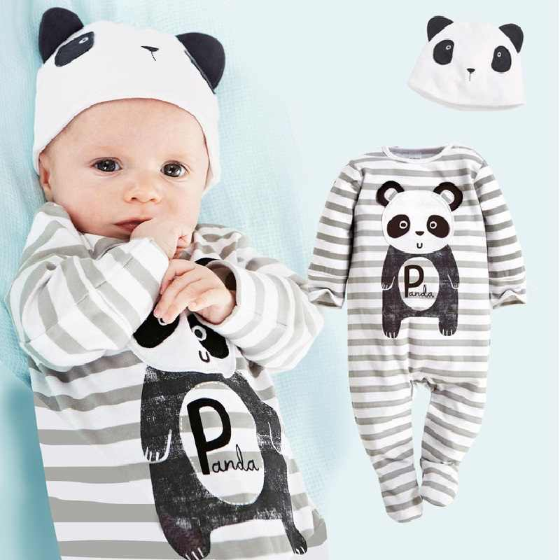 fd1e1743afde Panda Baby Rompers Caps Boys Clothing Set Toddler Hat One-Pieces Suits  Overall Grey baby
