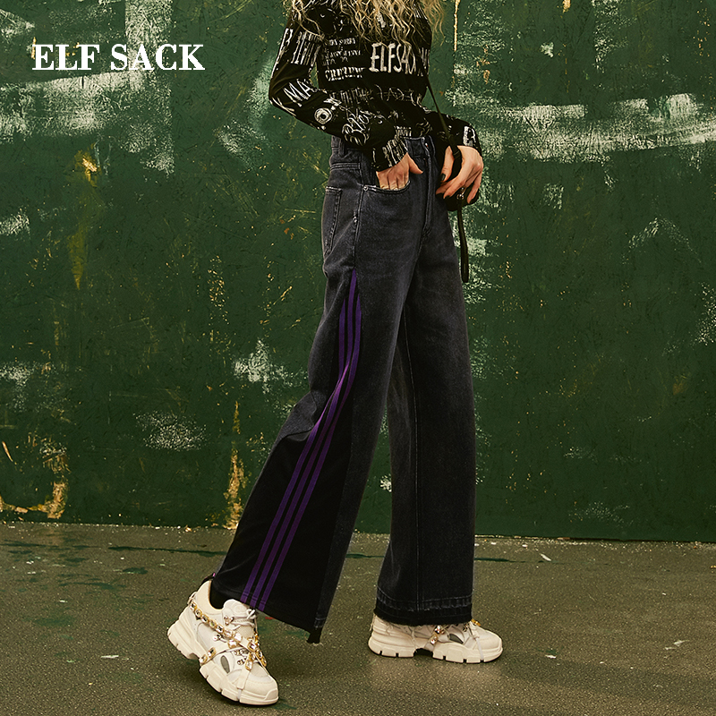 ELF SACK New Stylish Pants Cotton Casual Woman Jeans Straight Mid Oversized Trousers Female Streetwear Denim