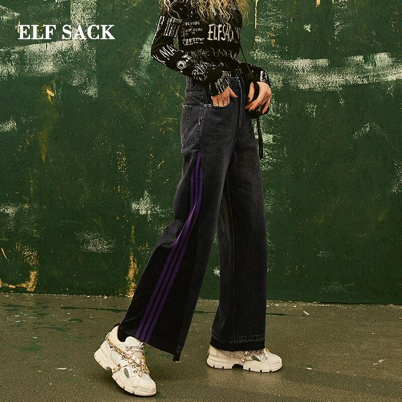 ELF SACK New Stylish Pants Cotton Casual Woman   Jeans   Straight Mid Oversized Trousers Female Streetwear Denim Pants Femme Pants