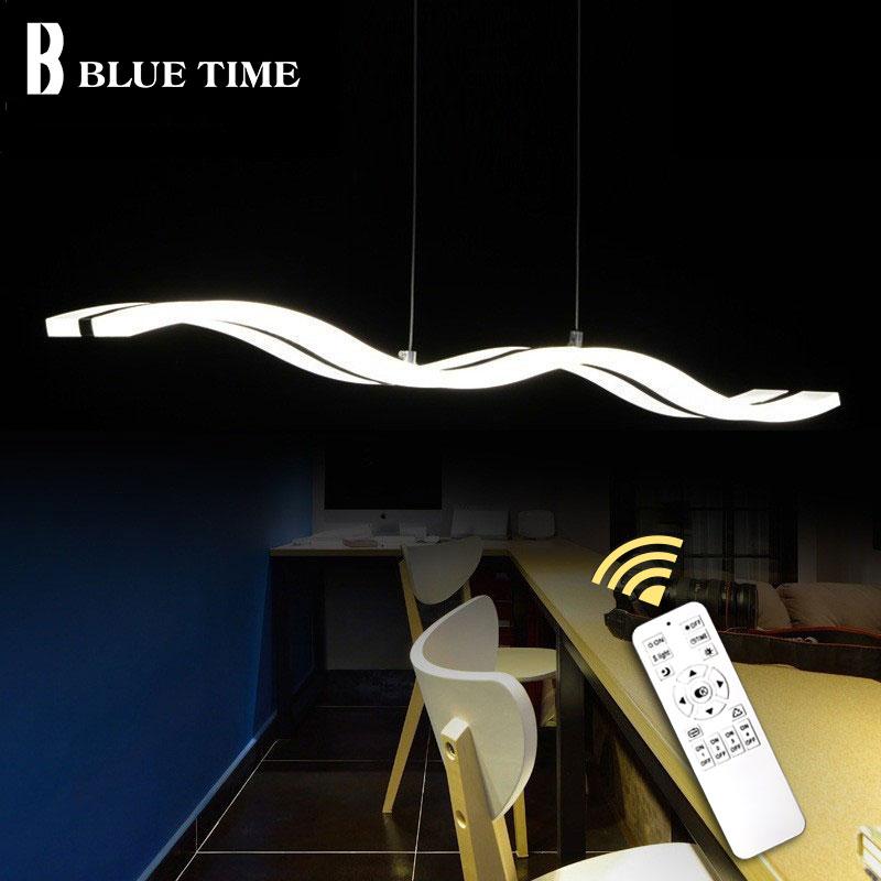 Plafonnier L97cm 38W moderne pendentif LED lumière pour salle à manger salon cuisine Luminaires acrylique pendentif LED lampe lampes suspendues