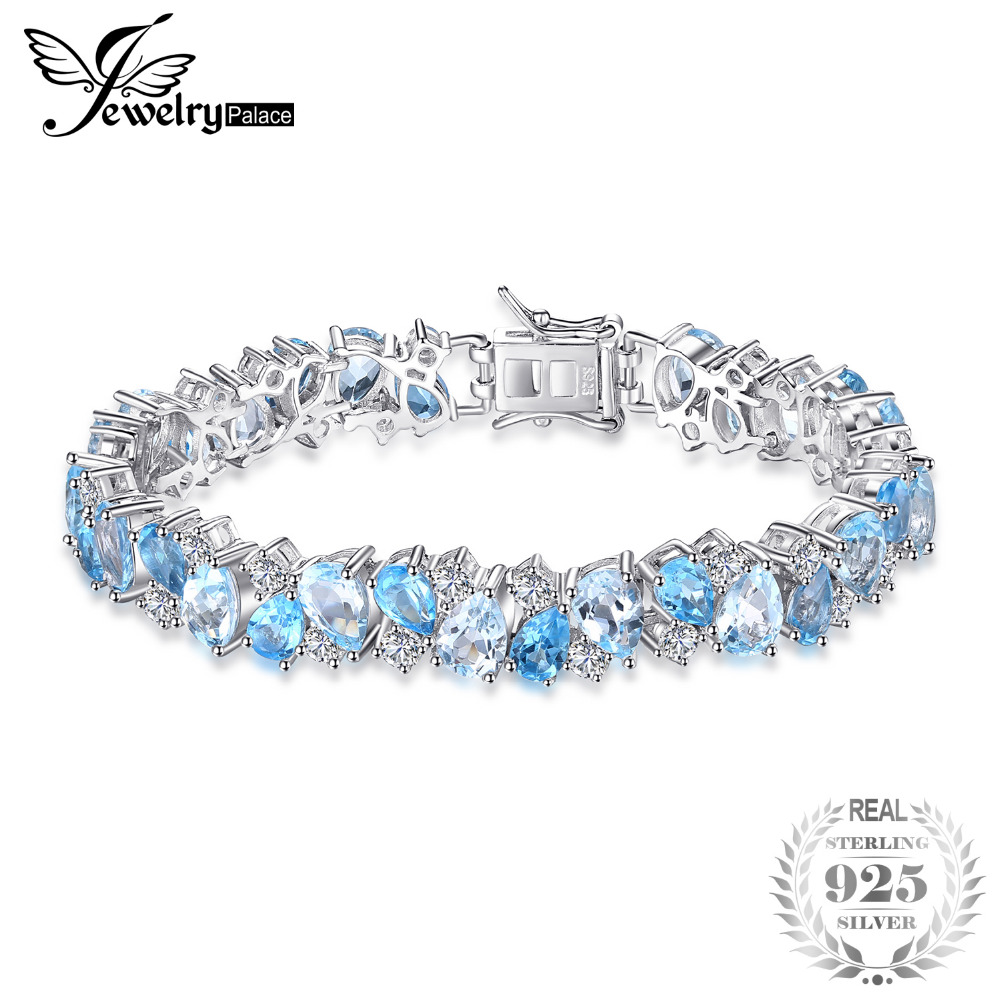 JewelryPalace Luxury 23ct Multi London Blue Topazs Link Tennis Bracelet Real 925 Sterling Silver jewelry For Women Party Gift