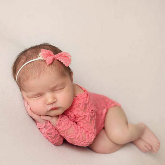10fc7e9843b9 2018 New Baby Photography Props Newborn Baby Lace Sitter Romper Halter  Rompers DIY Baby Gift Picture Props