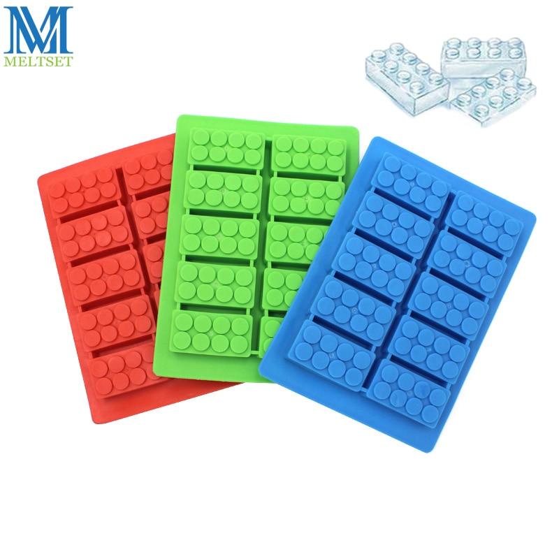 Meltset 1pc Ice Cube Tray Building Blocks Shape Silicone Ice Making Mold Homemade Jelly Pudding Mould Baking Tools