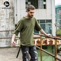 HZIJUE High Street Wear High Quality Men T Shirts 2017 Summer Long Hem Long Tie Fashion