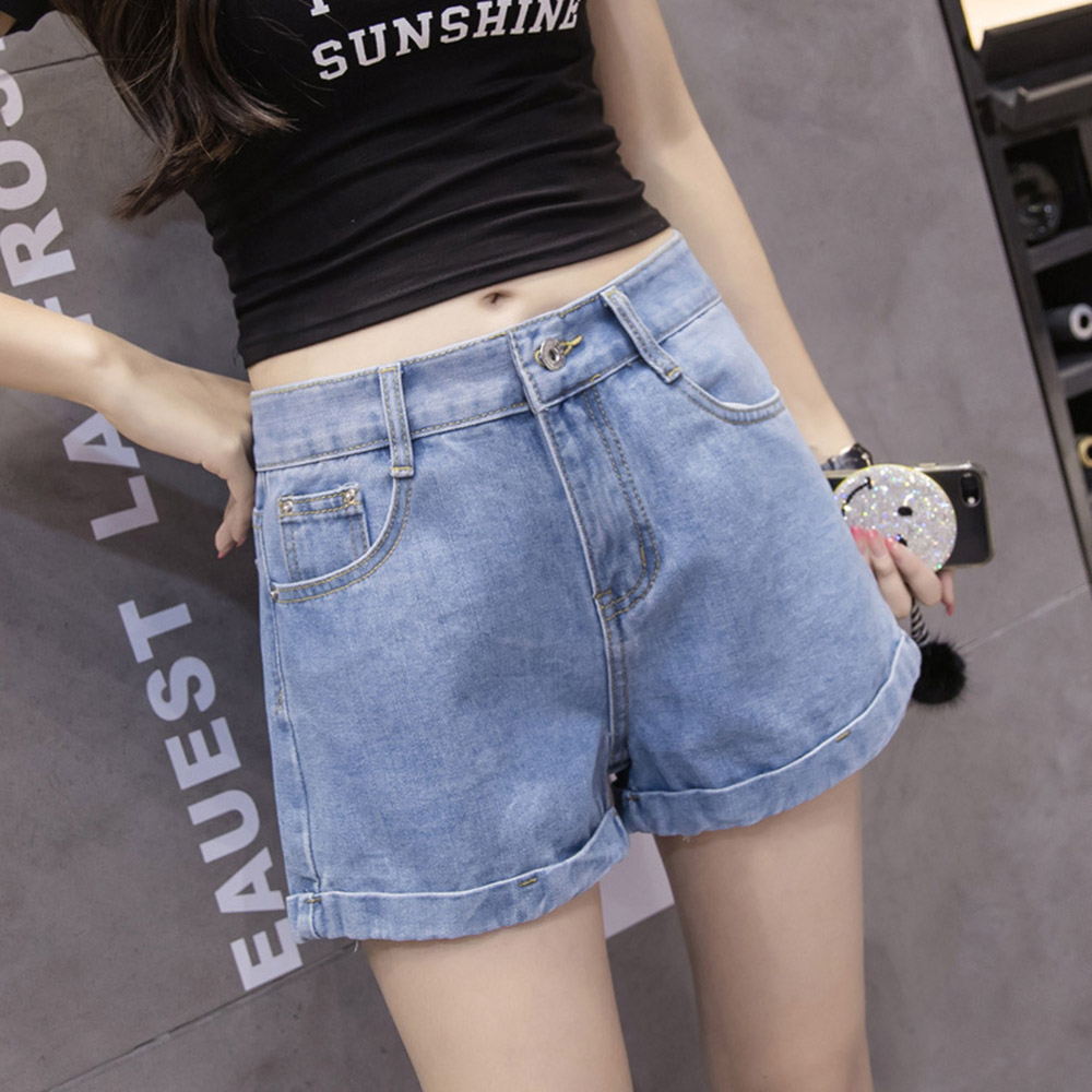 2019 New Euro Style Women Denim Shorts Vintage High Waist Cuffed Jeans Shorts Street Wear Sexy Shorts For Summer Spring Autumn Price $15.43