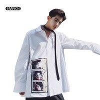 Oversize Men Loose Retro Printing Men Long Sleeve Casual Shirt High Street Fashion Hip Hop Male