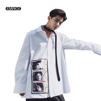 Oversize Men Loose Retro Printing Men Long Sleeve Casual Shirt High Street Fashion Hip Hop Male