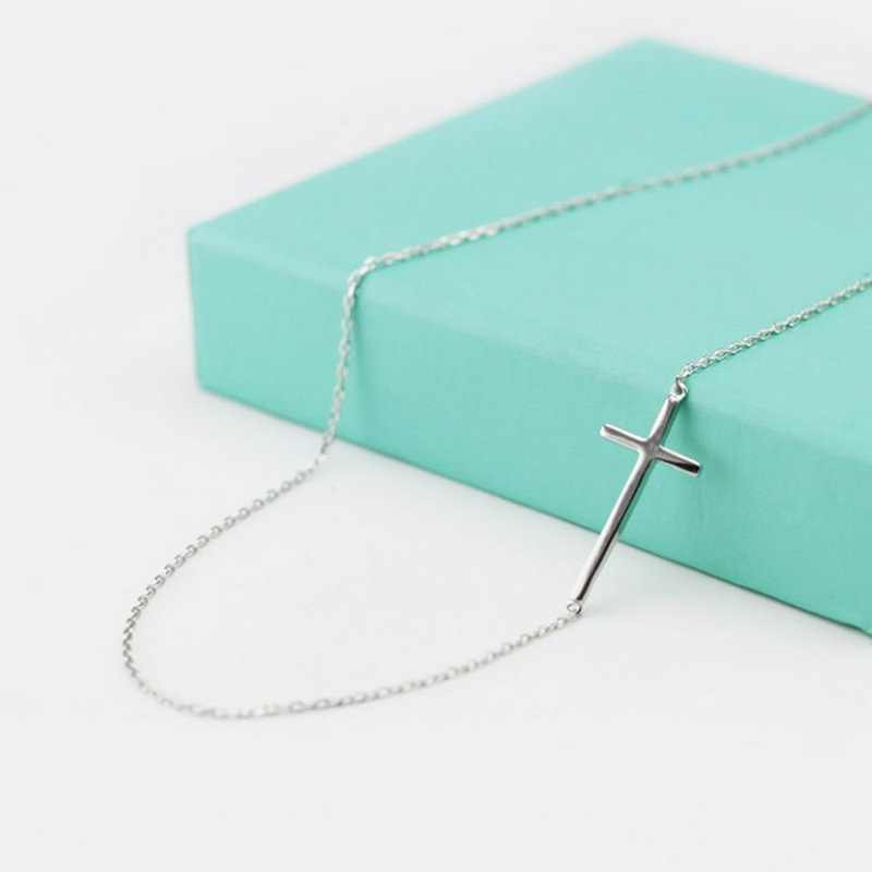 DIEERLAN New Arrivals 925 Sterling Silver Long Cross Necklaces Pendant Hot Sale Pure Silver Statement Jewelry for Women Wedding