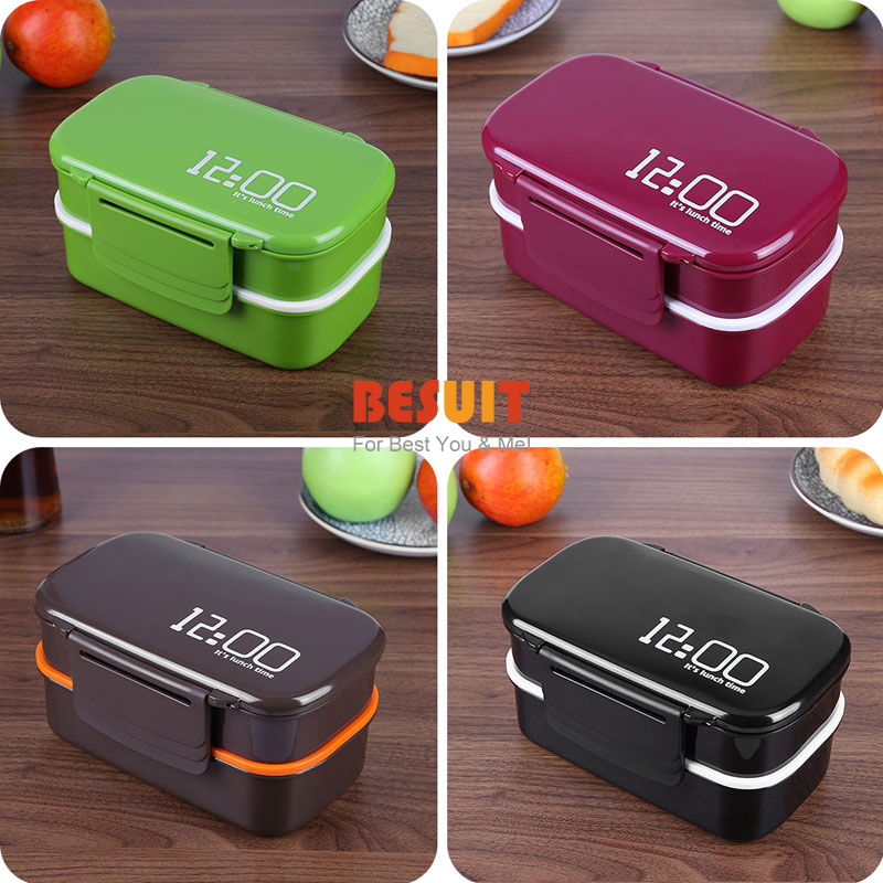 Large Capacity Food Container 1400ml kids lunch box 12:00Double Layer Eco-Friendly Microwave oven Bento Box for  picnic