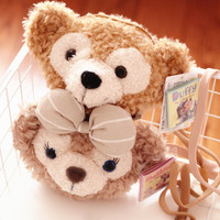 candice guo! cute cartoon couple duffy bear shelliemay bear crossbody bag plush toy coin purse lover birthday gift 1pc