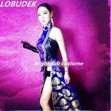 female long bodysuit Embroidered Robe dress sexy stage costumes jumpsuit nightclub singer dancer bar party DJ performance show
