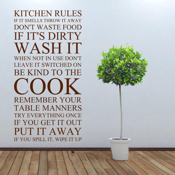 Large Quote Kitchen Rules Vinyl Wall Art Sticker Wall Stickers For Kitchen Decor Free Shipping Size 60*110cm