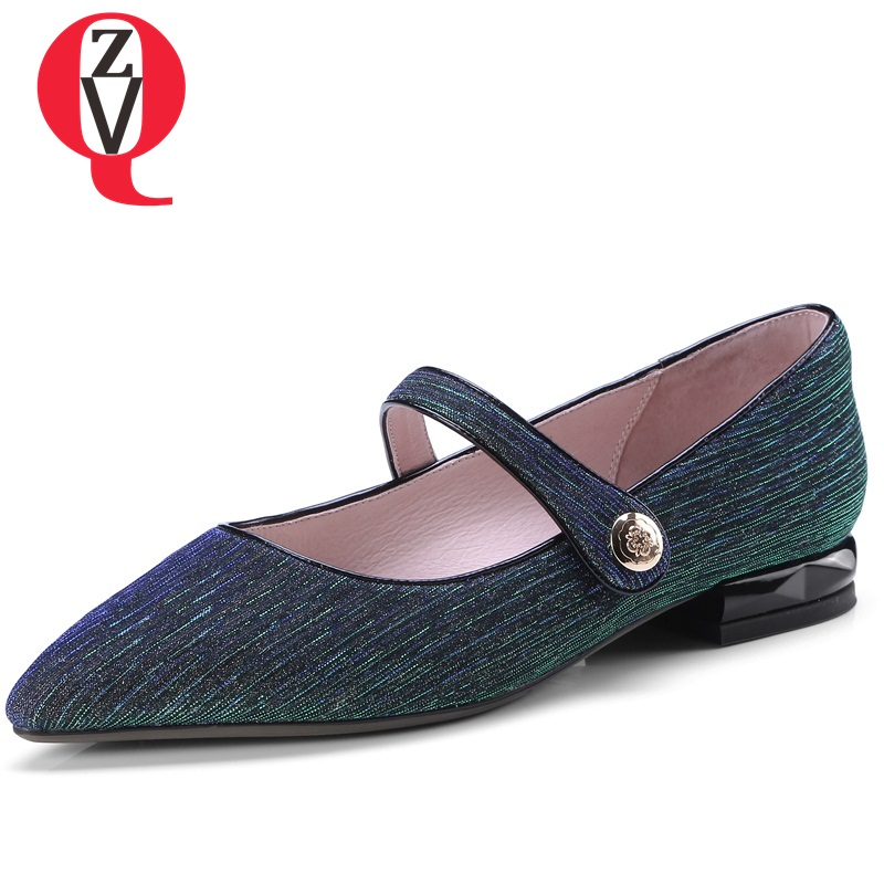 ZVQ Chinese style sequined cloth women pumps fashion pointed toe convenient leisure large size breathable spring shoes