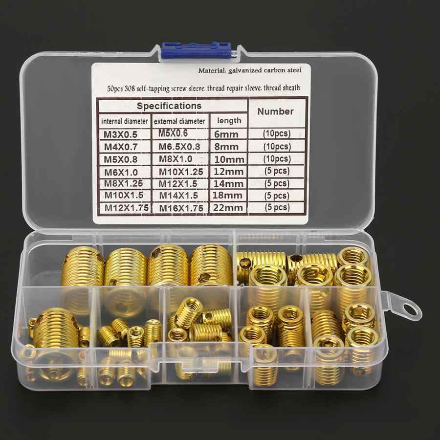 50 個の高強度ねじスリーブねじ山修理挿入キットツールセットラウンドナット t ナット