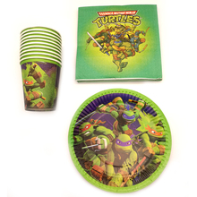 60pcs/lot Happy Birthday Ninja Turtles Theme Party Plates Decoration Glass Cups Kids Favors Dishes Baby Shower Napkins