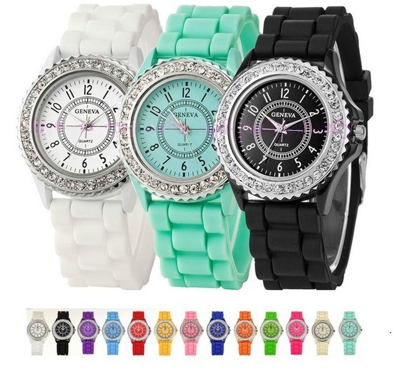 addafdf7599 Gnova Platina Prata Cristal Mulher Genebra Assistir silicone Relógio de  pulso mulheres strass relógios casuais montre horas A286