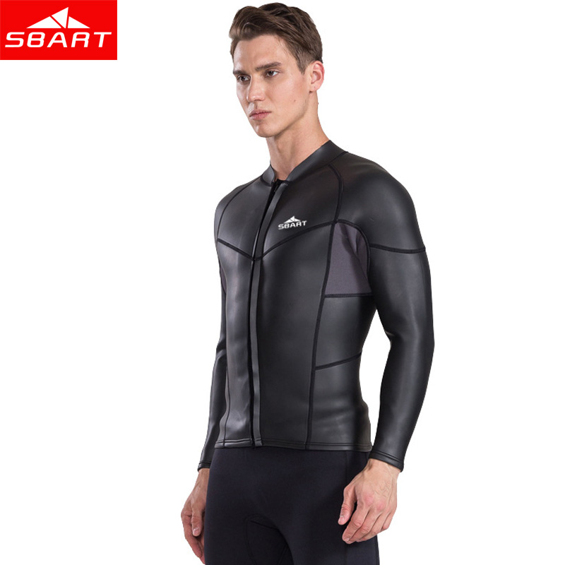 e684be3fad US $42.0 20% OFF|SBART 2MM Neoprene Long Sleeve Wetsuits Top Men Sunscreen  UV Surfing Smoothskin Jacket Winter keep Warm Swimming Coat-in Wetsuit from  ...