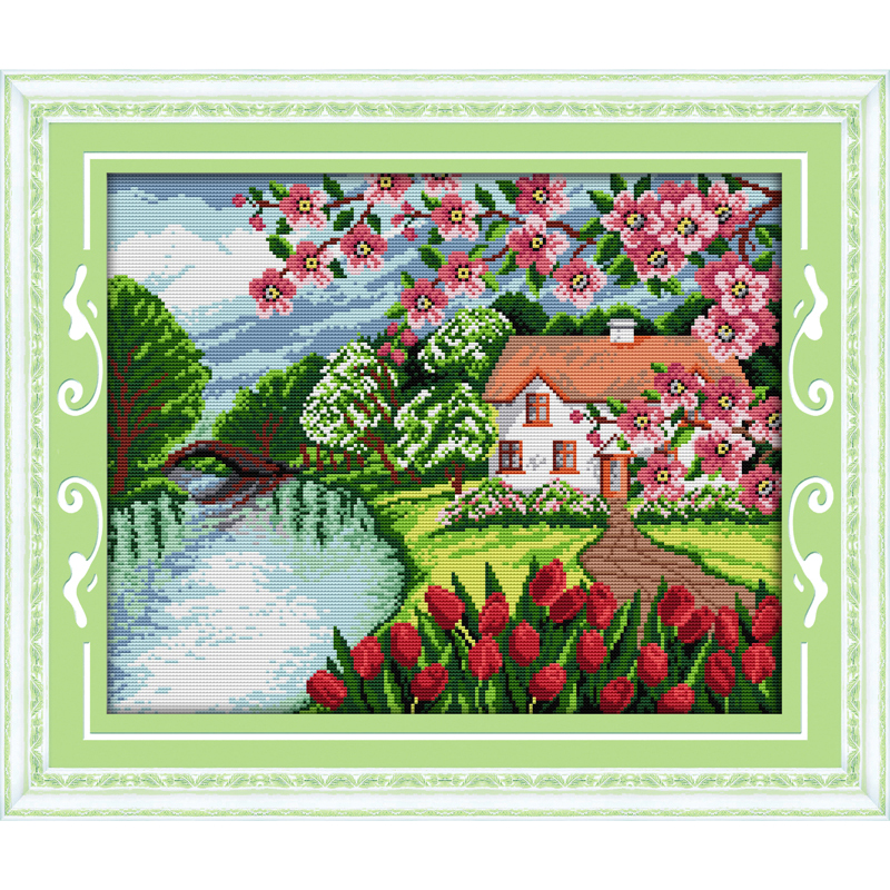 Everlasting love Cabin with the fragrance of flowers (2) Chinese cross stitch kits Ecological cotton printed DIY new decorations