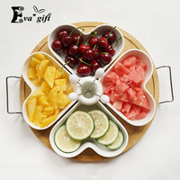 Home ceramic wood tray food organizer storage box can be uesd in afternoon tea snacks with lover convenience simple