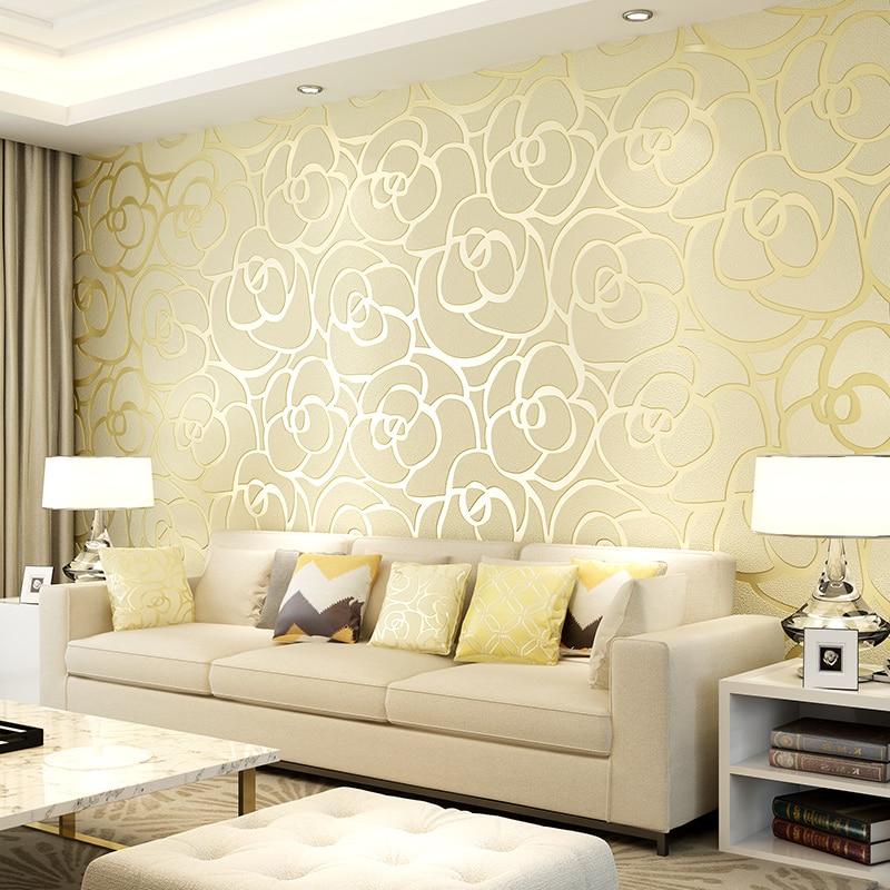 Rouleau de papier peint Non-tissé flocage Rose 3D européen pour salon salon fond TV papier de parede