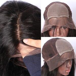Image 3 - LUFFYHAIR Kinky kıvırcık ipek taban dantel ön peruk orta kısmı 150% yoğunluk brezilyalı Remy saç ipek üst dantel ön İnsan saç peruk