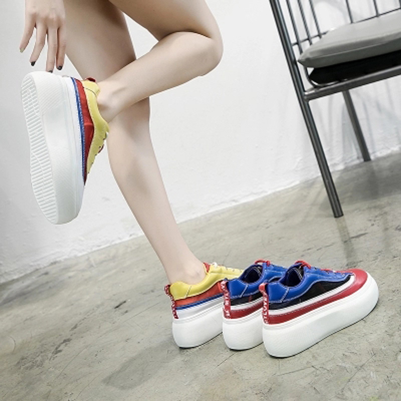 Malla Versión De Toma 100 Mujer Bottom L Super Azul Thick Fuego Transpirable amarillo Nueva Loosecake Superficie Ins Zapatos Aumentar Verano 2018 Coreana z0qnxTvg