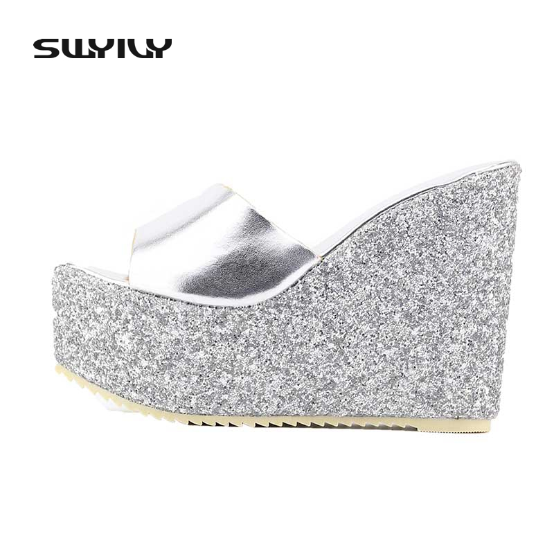 Sequins High Heeled Sandals 2017 Wedge Waterproof Slippers Summer Women  Shoes Platform Sandalias Mujer-in Slippers from Shoes on Aliexpress.com  b79d8690ea41