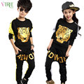V-TREE fashion teenage boys clothing set hip-hop tiger girls sports suit child tracksuits for kids clothes sets 8 10
