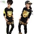 V-TREE moda adolescente meninos set roupas hop tigre conjuntos de fatos de treino para crianças roupas meninas terno dos esportes da criança 8 10