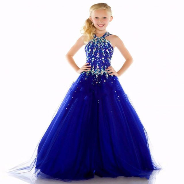 New-Girls-Pageant-Dresses-2016-Ball-Gown-Halter-Royal-Blue-Crystals-Rhinestones-Cute-Little-Flower-Girl