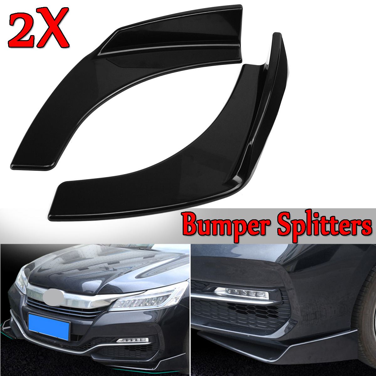 2Pcs New Universal Black Car Front Deflector Spoiler Splitter Diffuser Bumper Canard Lip ABS Plastic Decorative Protection2Pcs New Universal Black Car Front Deflector Spoiler Splitter Diffuser Bumper Canard Lip ABS Plastic Decorative Protection