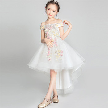 Baby Infant Fashion New Appliques Flower Shoulderless Birthday Wedding Party Fluffy Prom Dress Kids Children Communication Dress