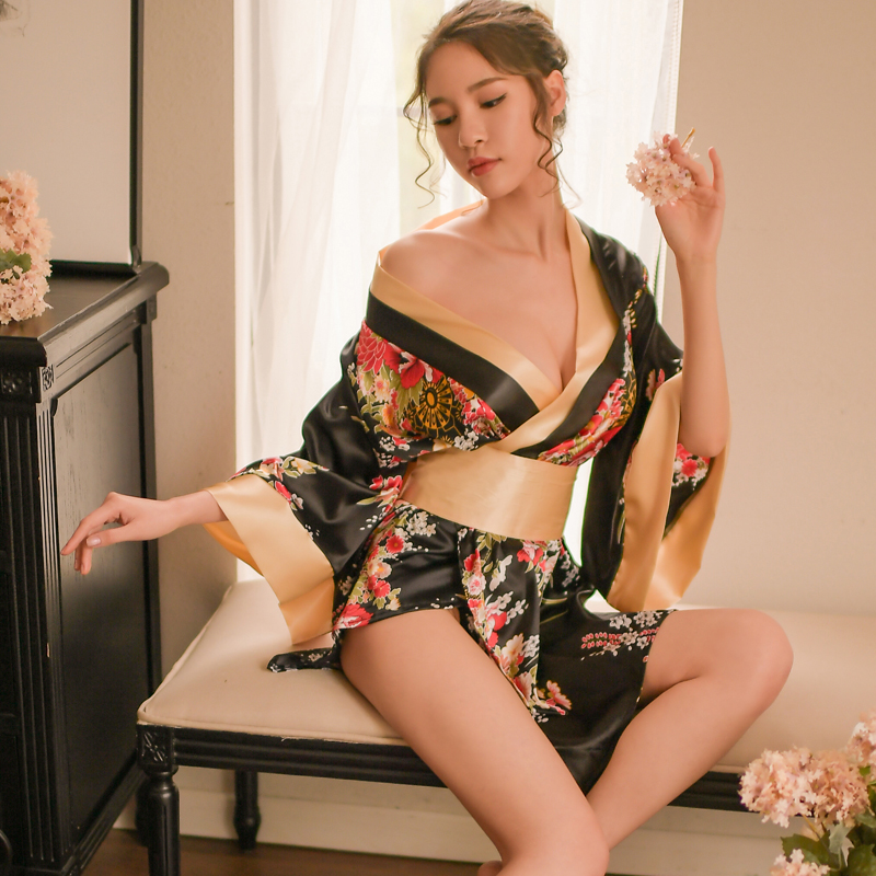 (Robe+T string+Sash) Japanese Styles Sexy Home Dresses Women   Nightgowns     Sleepshirt   Ladies SleepWear Silk Nighty Sleeping Dress