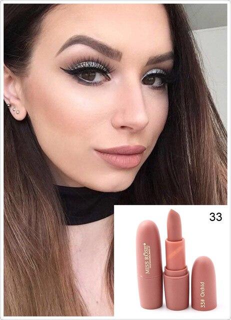 New Sexy Red Lips Matte Velvet Lipstick Pencil Cosmetic Long Lasting Lip Tint Pigment Makeup Nude Brown Lipstick Matte Lip stick 5