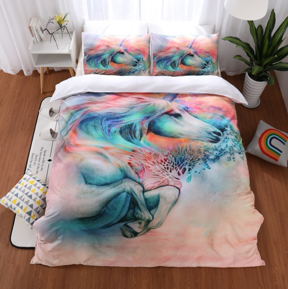 Unicorn Bedding Sets Queen King Size Quilt Cover Colorful