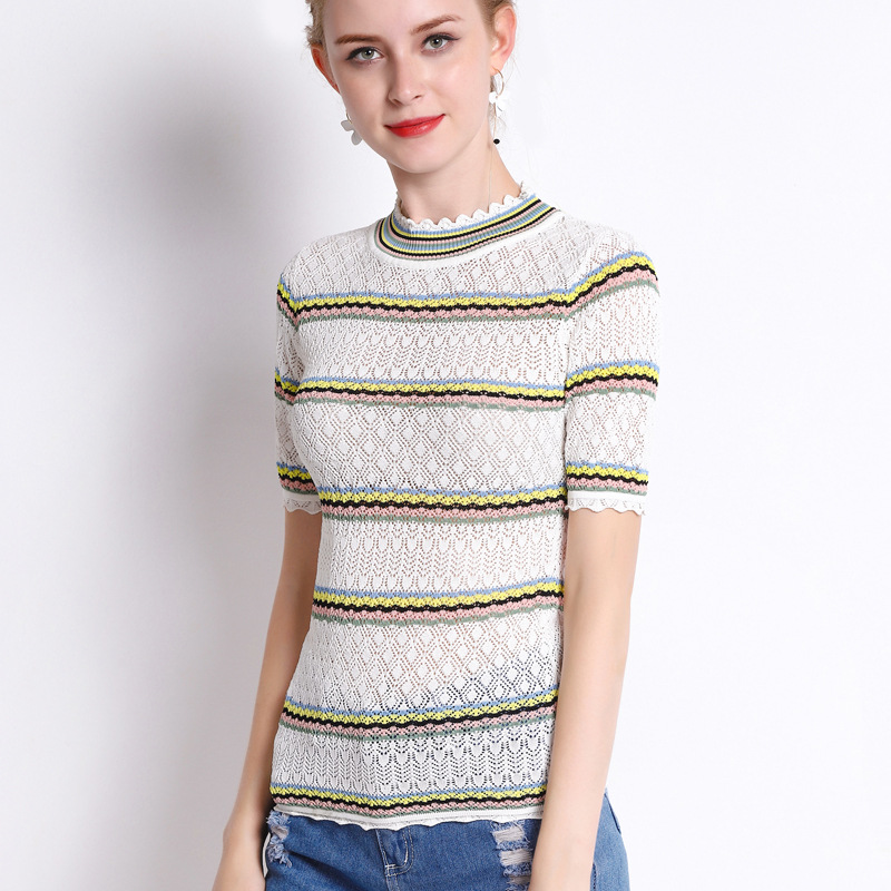 Kadın Giyim'ten Bluzlar ve Gömlekler'de Micosoni 2018 Yaz Yeni Dantel Yaka Gökkuşağı Şerit Içi Boş Kazak Kısa kollu Kadınlar için Bluz S L Pembe Siyah Sarı beyaz S L'da  Grup 1