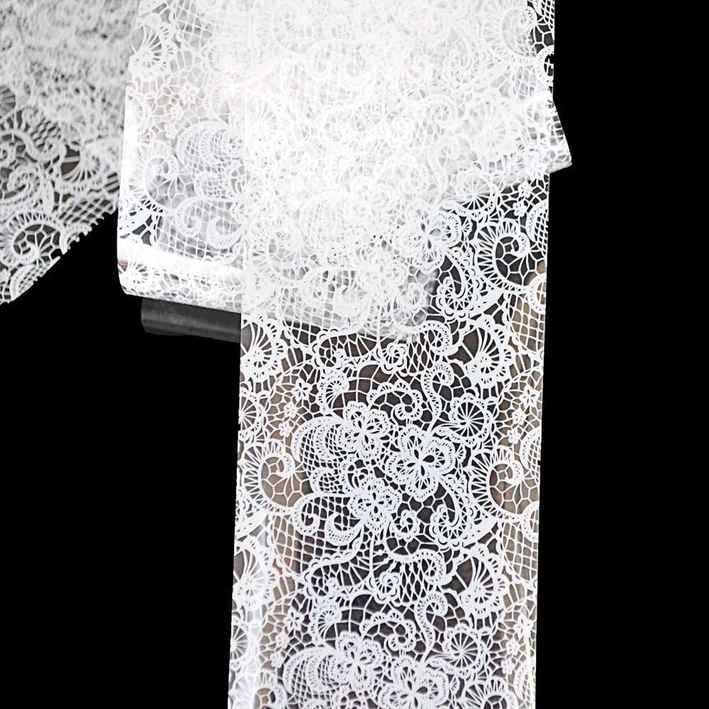 Pełna uroda paznokci naklejka artystyczna koronkowe czarne kwiaty motyl projekt woda Transfer Nail Art naklejki dekoracyjne folia zestaw