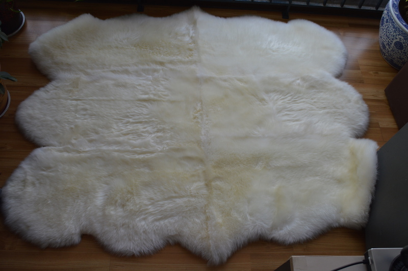 6P Luxury Nature White 150x200cm Plush Wool Genuine Lambskin Real Sheepskin  Rug,Sheep Skin Fur