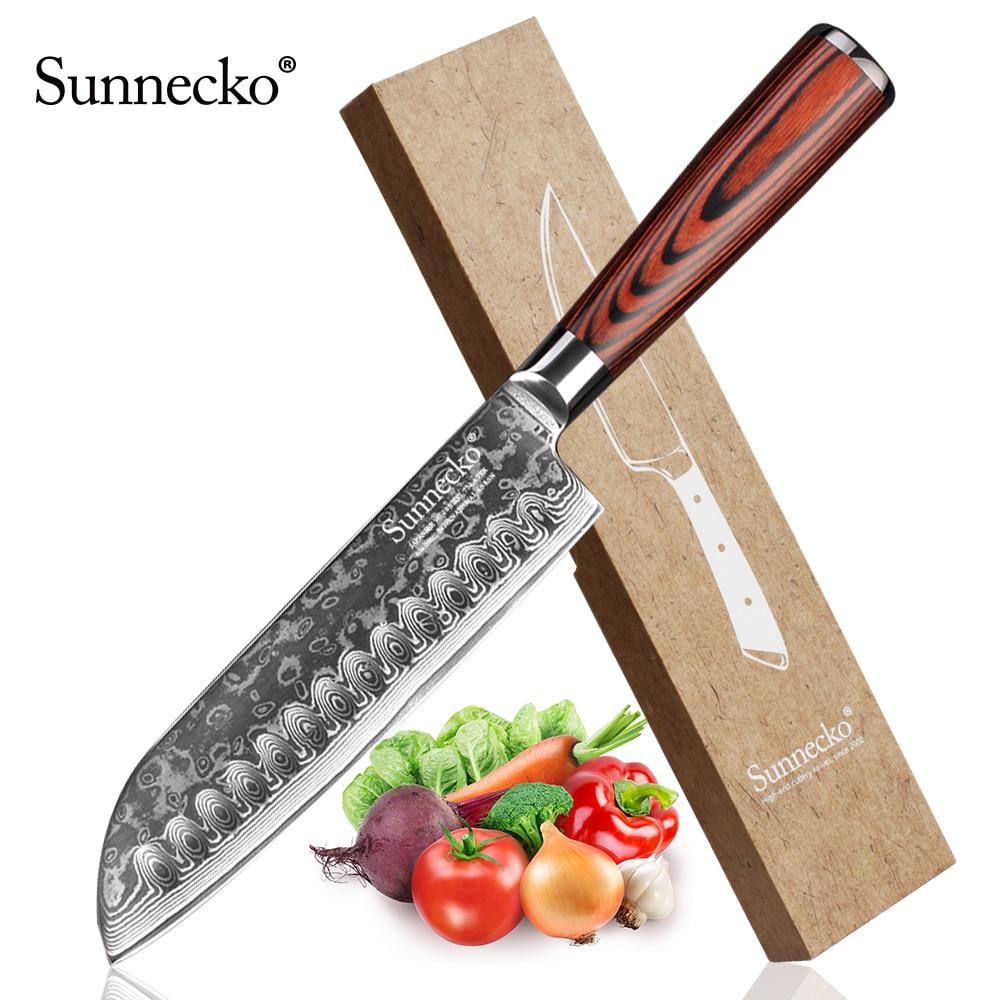 SUNNECKO 7 Damascus Santoku Knife Japanese VG10 Steel Blade Kitchen Knives Pakka Wood Handle Chef Slicing