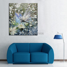 100% Handpainted Oil Paintings Picture Panel Beautiful Dragonfly Animal Oil Painting on Canvas for Home Decoration