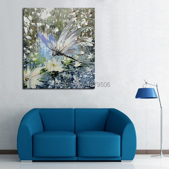 100% pinturas al óleo pintadas a mano cuadro hermosa libélula animal ...