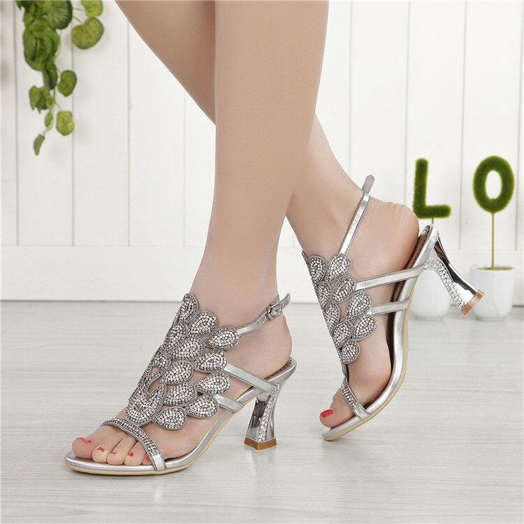 G-sparrow 2018 Summer Korean Rhinestone Slipper Silver Elegant Wedding Shoes Womens Crystal High Heel Sandals6