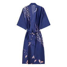 Navy Blue Rayon Women Robe Kimono Gown Sexy Intimate Lingerie Sleepwear Night Dress Print Flower Satin Home Clothes Pajamas