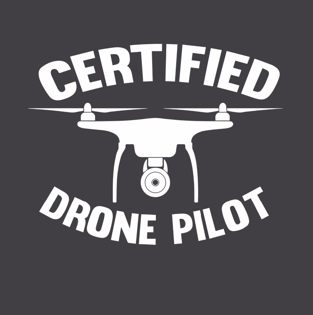 New Summer Printed Designs Slim Fit Crew Neck Certified Drone Pilot